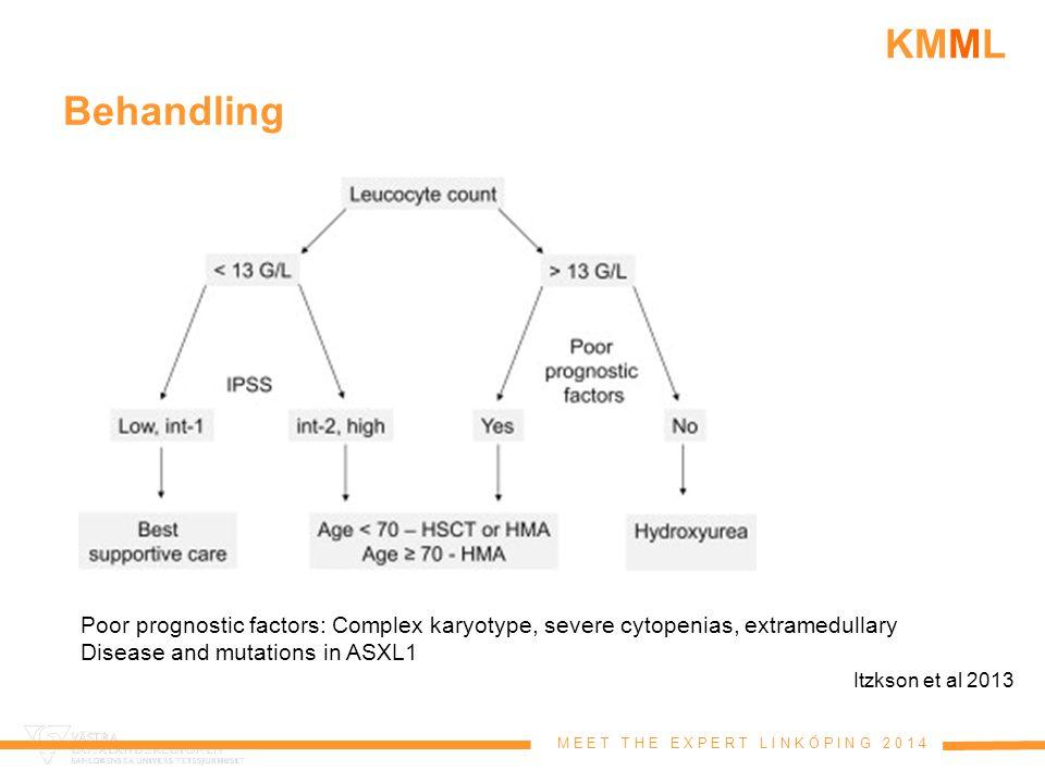 M E E T T H E E X P E R T L I N K Ö P I N G 2 0 1 4 KMML Behandling Itzkson et al 2013 Poor prognostic factors: Complex karyotype, severe cytopenias,