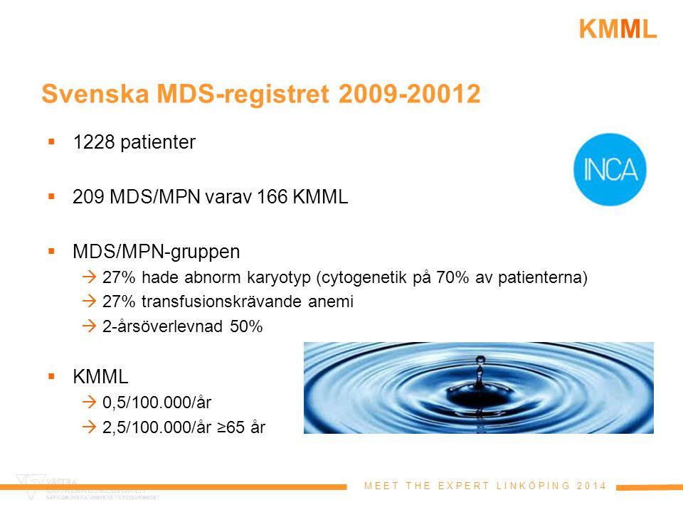 M E E T T H E E X P E R T L I N K Ö P I N G 2 0 1 4 KMML Prognostisk modell med ASXL1 1.Ålder >65 år2 poäng 2.LPK >15x10 9 /L3 poäng 3.Anemi2 poäng 4.Trombocyter <100x10 9 /L2 poäng 5.Mutation ASXL12 poäng Lågrisk0-4 poäng Intermediärrisk5-7 poäng Högrisk8-11 poäng Itzykson et al 2013