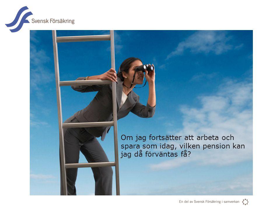 En del av svensk Försäkring i samverkan Om jag fortsätter att arbeta och spara som idag, vilken pension kan jag då förväntas få?