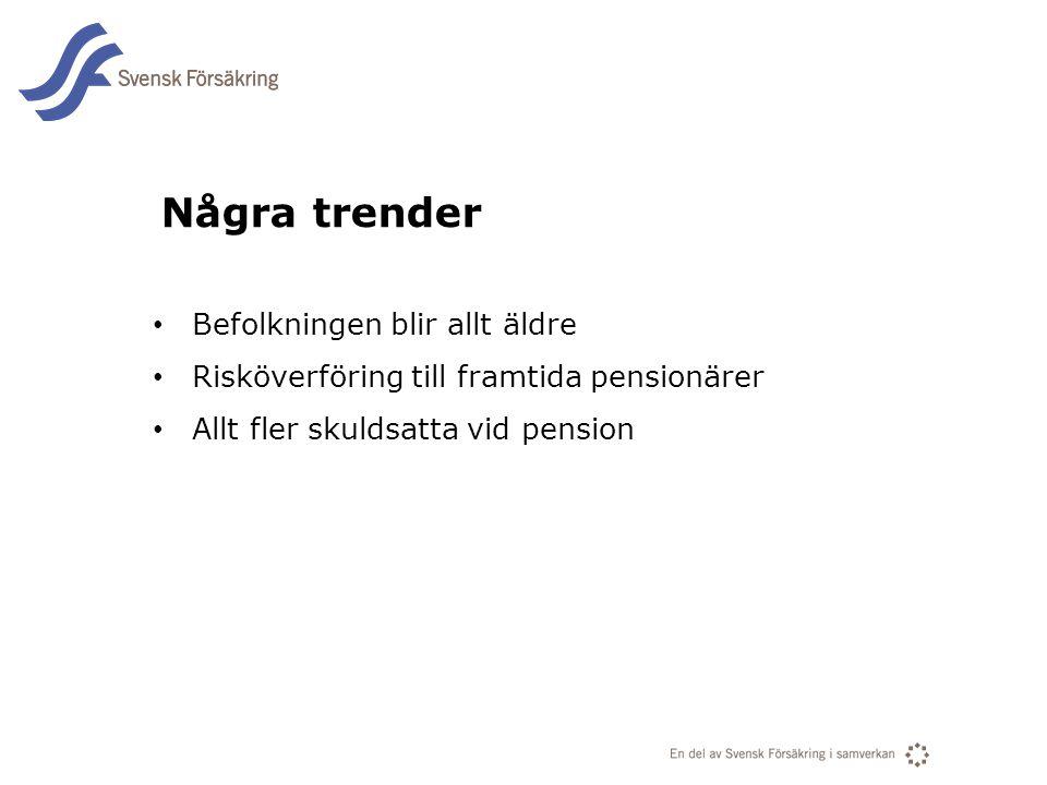 En del av svensk Försäkring i samverkan Några trender Befolkningen blir allt äldre Risköverföring till framtida pensionärer Allt fler skuldsatta vid pension