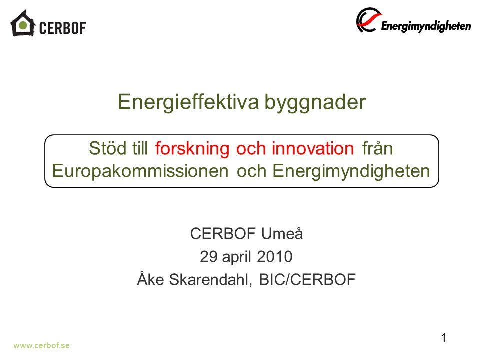 www.cerbof.se Energieffektiva byggnader Stöd till forskning och innovation från Europakommissionen och Energimyndigheten CERBOF Umeå 29 april 2010 Åke Skarendahl, BIC/CERBOF 1