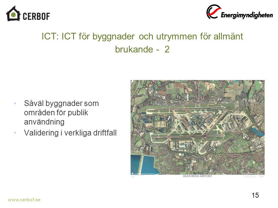 www.cerbof.se ICT: ICT för byggnader och utrymmen för allmänt brukande - 2 Såväl byggnader som områden för publik användning Validering i verkliga driftfall 15