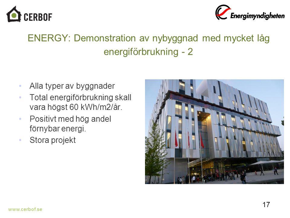 www.cerbof.se ENERGY: Demonstration av nybyggnad med mycket låg energiförbrukning - 2 Alla typer av byggnader Total energiförbrukning skall vara högst 60 kWh/m2/år.
