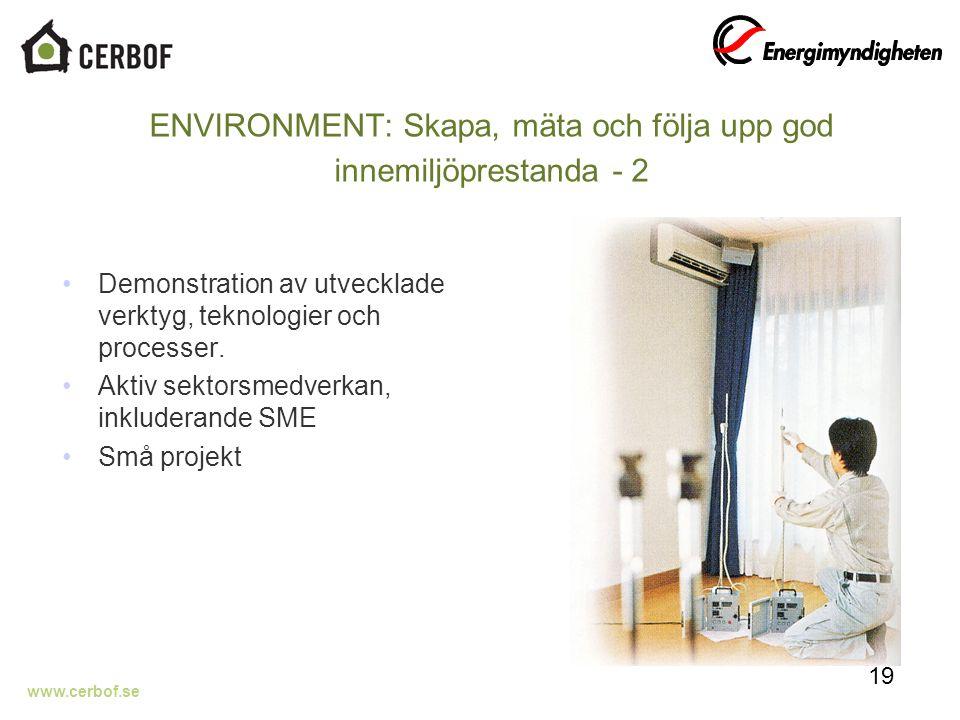 www.cerbof.se ENVIRONMENT: Skapa, mäta och följa upp god innemiljöprestanda - 2 Demonstration av utvecklade verktyg, teknologier och processer.