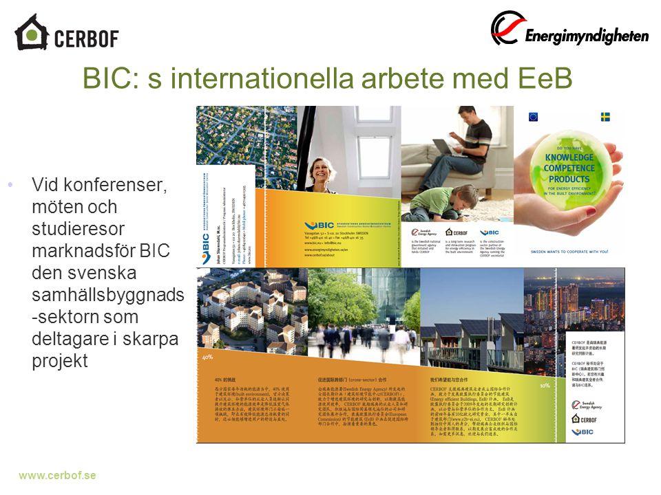 www.cerbof.se 30 BIC: s internationella arbete med EeB Vid konferenser, möten och studieresor marknadsför BIC den svenska samhällsbyggnads -sektorn som deltagare i skarpa projekt
