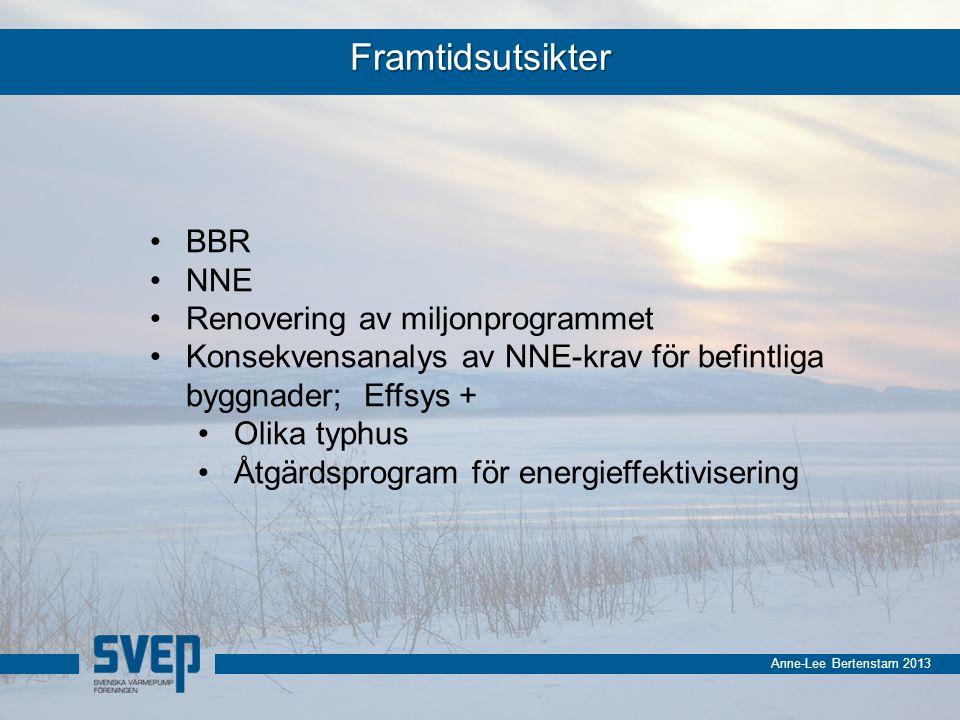 Anne-Lee Bertenstam 2013 Framtidsutsikter BBR NNE Renovering av miljonprogrammet Konsekvensanalys av NNE-krav för befintliga byggnader; Effsys + Olika typhus Åtgärdsprogram för energieffektivisering