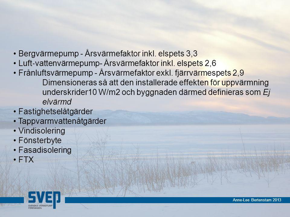 Anne-Lee Bertenstam 2013 Bergvärmepump - Årsvärmefaktor inkl.