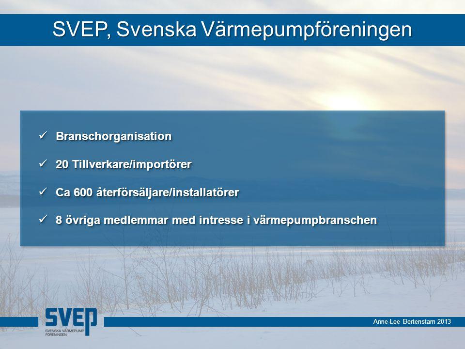 Anne-Lee Bertenstam 2013 Försäljning av värmepumpar i Sverige 1982-2012