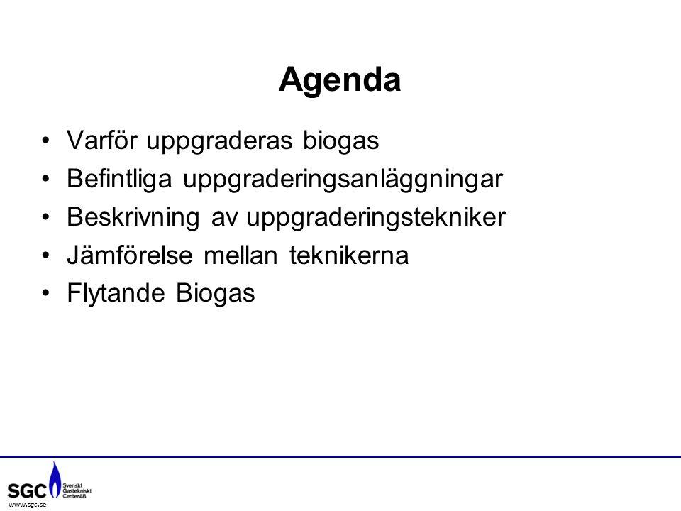 www.sgc.se Varför uppgraderas biogas Befintliga uppgraderingsanläggningar Beskrivning av uppgraderingstekniker Jämförelse mellan teknikerna Flytande Biogas Agenda