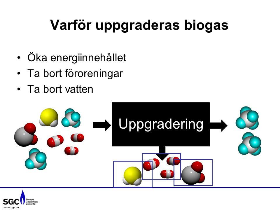 www.sgc.se Öka energiinnehållet Ta bort föroreningar Ta bort vatten Varför uppgraderas biogas Uppgradering