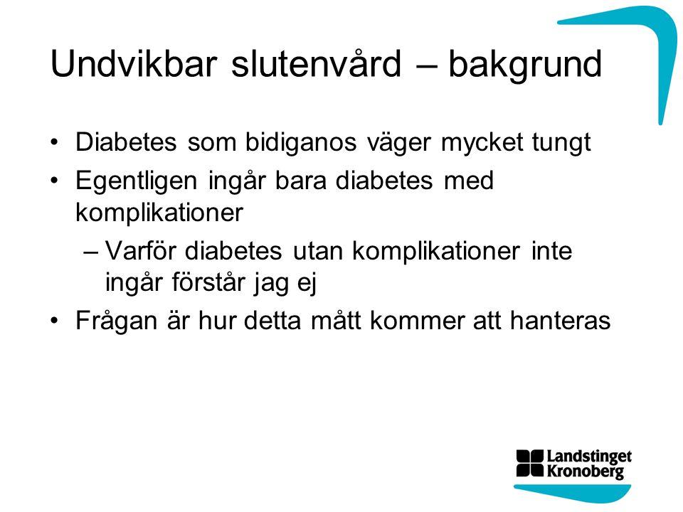 Undvikbar slutenvård – bakgrund Diabetes som bidiganos väger mycket tungt Egentligen ingår bara diabetes med komplikationer –Varför diabetes utan komplikationer inte ingår förstår jag ej Frågan är hur detta mått kommer att hanteras