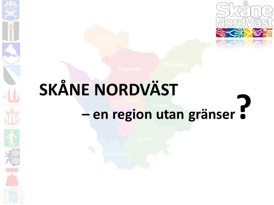 NULÄGE 10 kommuner med mellan 9600 och 128 300 invånare Öresundsregionen är Nordens mest tätbefolkade storstadsregion Ny framtidsplan för Skåne Nordväst år 2010-2020 Konkreta projekt: