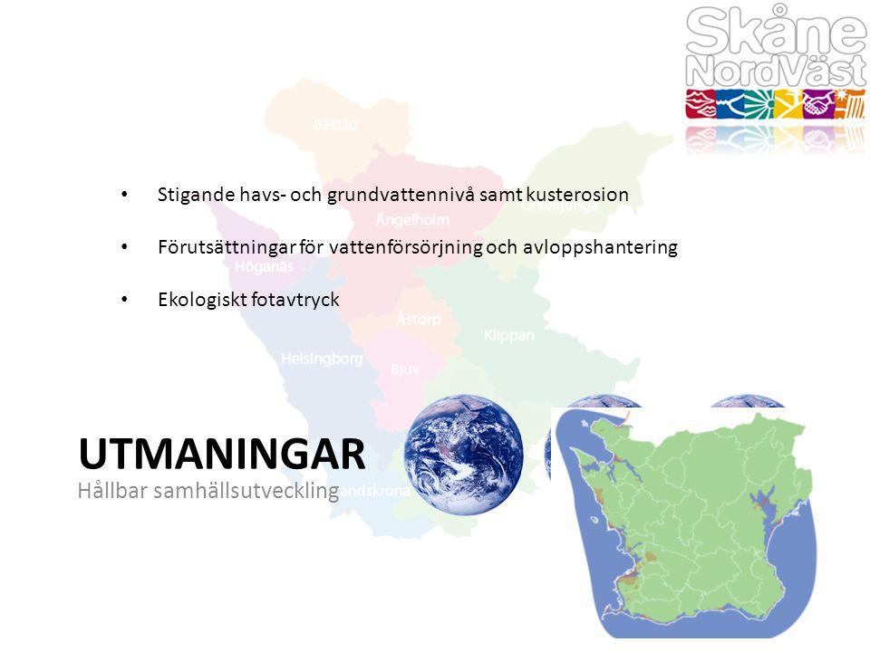 UTMANINGAR Hållbar samhällsutveckling Stigande havs- och grundvattennivå samt kusterosion Förutsättningar för vattenförsörjning och avloppshantering Ekologiskt fotavtryck