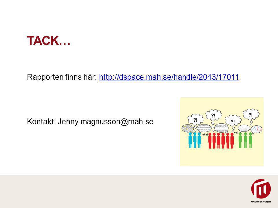 TACK… Rapporten finns här: http://dspace.mah.se/handle/2043/17011http://dspace.mah.se/handle/2043/17011 Kontakt: Jenny.magnusson@mah.se