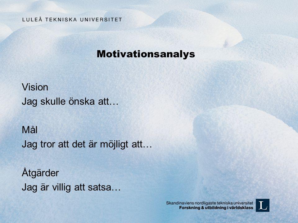 Motivationsanalys Vision Jag skulle önska att… Mål Jag tror att det är möjligt att… Åtgärder Jag är villig att satsa…