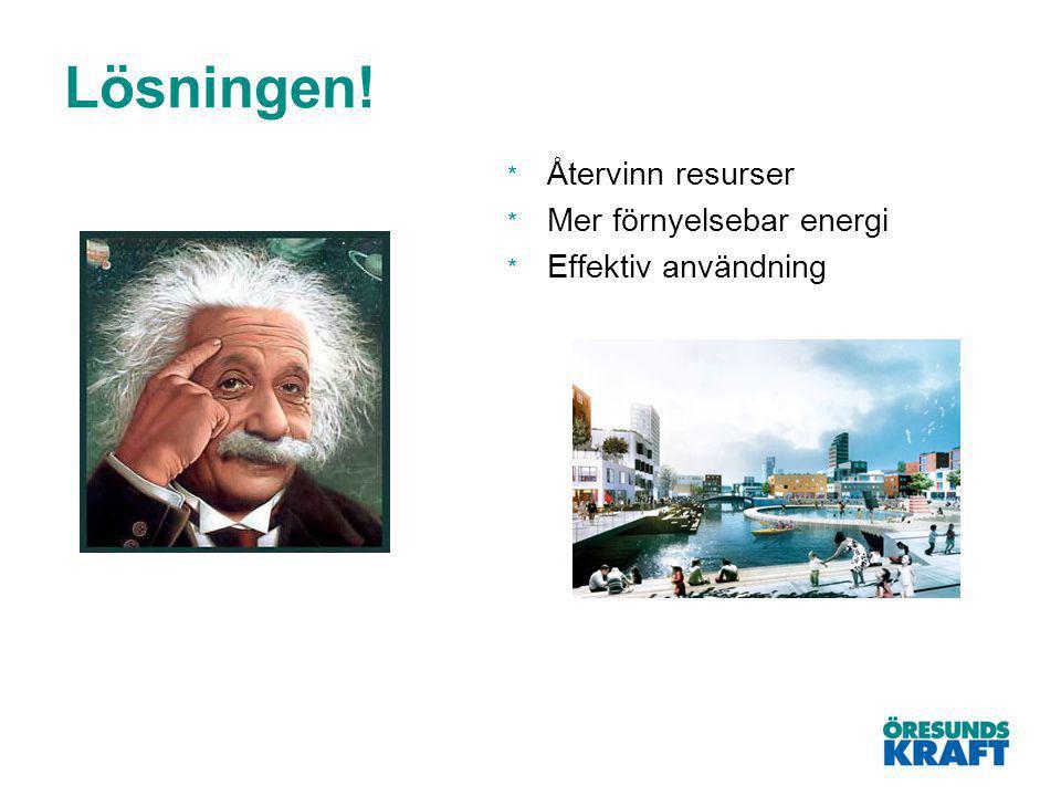Lösningen! * Återvinn resurser * Mer förnyelsebar energi * Effektiv användning
