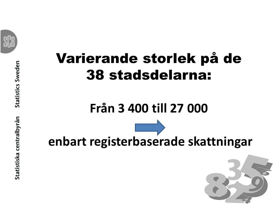 Varierande storlek på de 38 stadsdelarna: Från 3 400 till 27 000 enbart registerbaserade skattningar