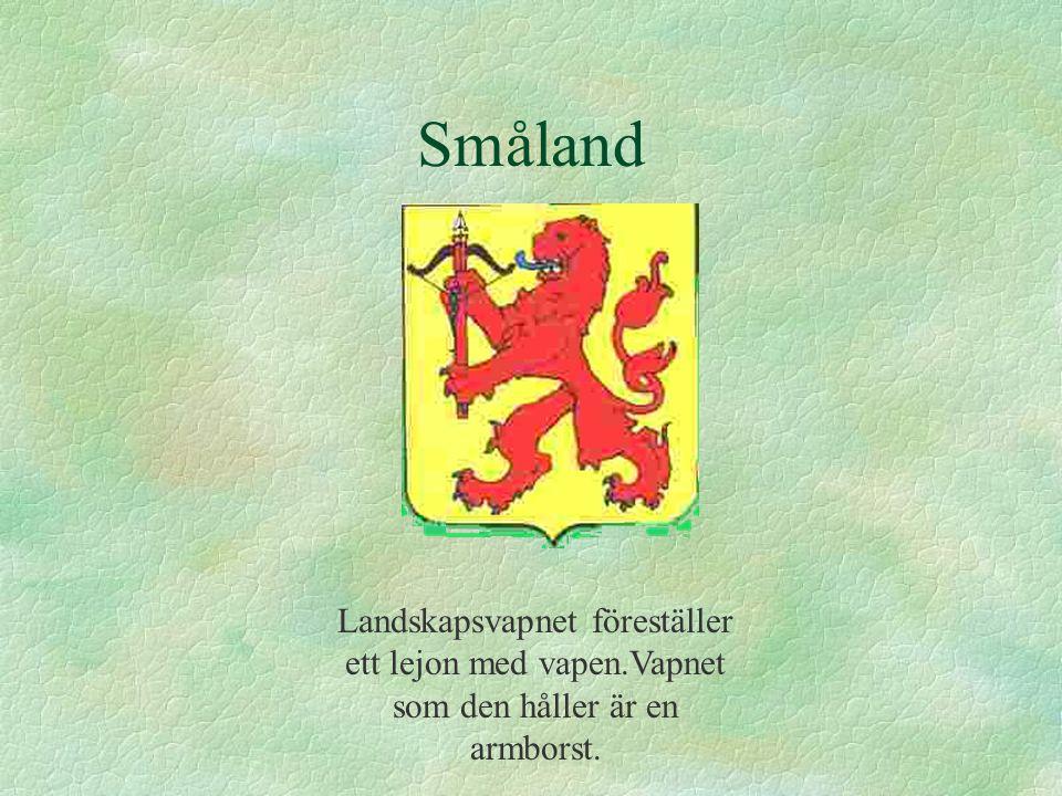 Småland Landskapsvapnet föreställer ett lejon med vapen.Vapnet som den håller är en armborst.