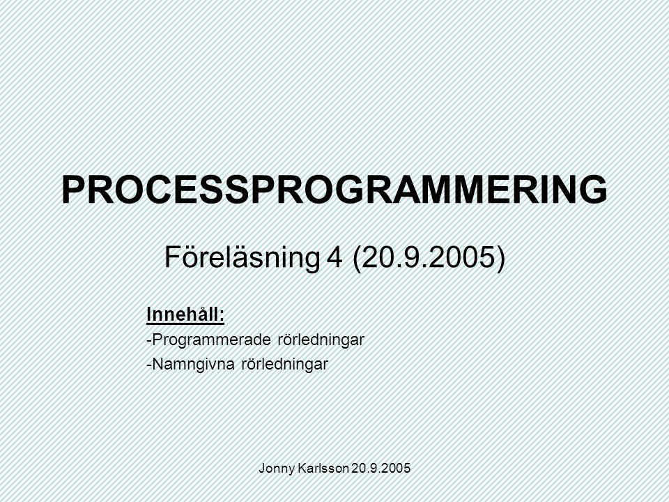 Jonny Karlsson 20.9.2005 PROCESSPROGRAMMERING Föreläsning 4 (20.9.2005) Innehåll: -Programmerade rörledningar -Namngivna rörledningar