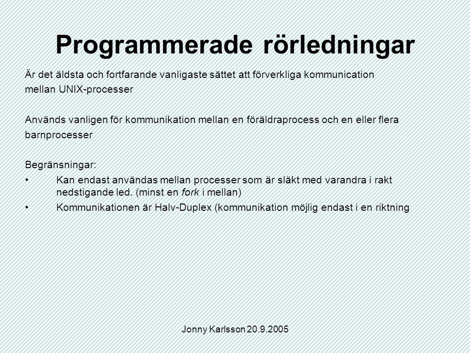 Jonny Karlsson 20.9.2005 Programmerade rörledningar Är det äldsta och fortfarande vanligaste sättet att förverkliga kommunication mellan UNIX-processer Används vanligen för kommunikation mellan en föräldraprocess och en eller flera barnprocesser Begränsningar: Kan endast användas mellan processer som är släkt med varandra i rakt nedstigande led.