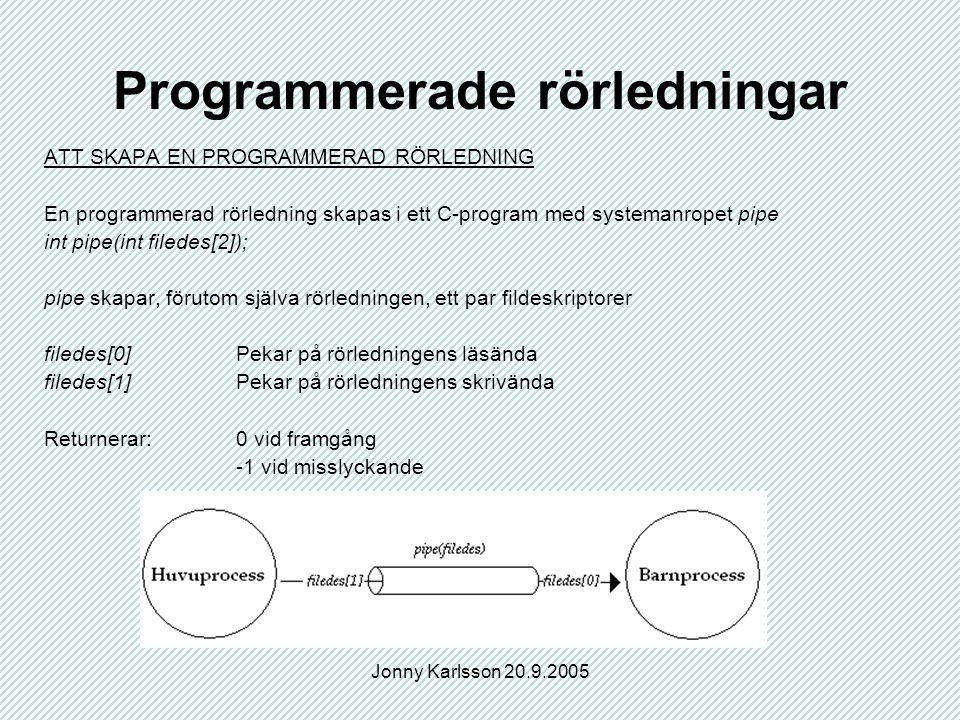 Jonny Karlsson 20.9.2005 Programmerade rörledningar ATT SKAPA EN PROGRAMMERAD RÖRLEDNING En programmerad rörledning skapas i ett C-program med systemanropet pipe int pipe(int filedes[2]); pipe skapar, förutom själva rörledningen, ett par fildeskriptorer filedes[0]Pekar på rörledningens läsända filedes[1]Pekar på rörledningens skrivända Returnerar:0 vid framgång -1 vid misslyckande