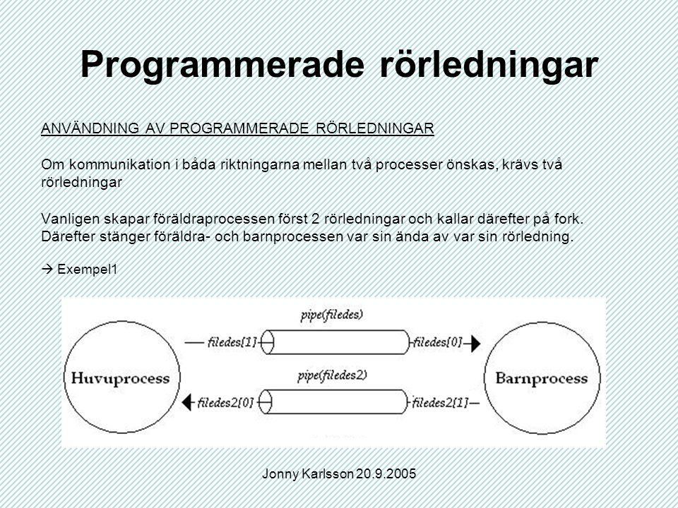 Jonny Karlsson 20.9.2005 Programmerade rörledningar ANVÄNDNING AV PROGRAMMERADE RÖRLEDNINGAR Om kommunikation i båda riktningarna mellan två processer önskas, krävs två rörledningar Vanligen skapar föräldraprocessen först 2 rörledningar och kallar därefter på fork.