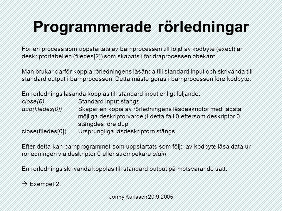 Jonny Karlsson 20.9.2005 Namngivna rörledningar Kallas även FIFO:s Kan användas som kommunkationskanal mellan två processer även om dessa inte är släkt med varandra.