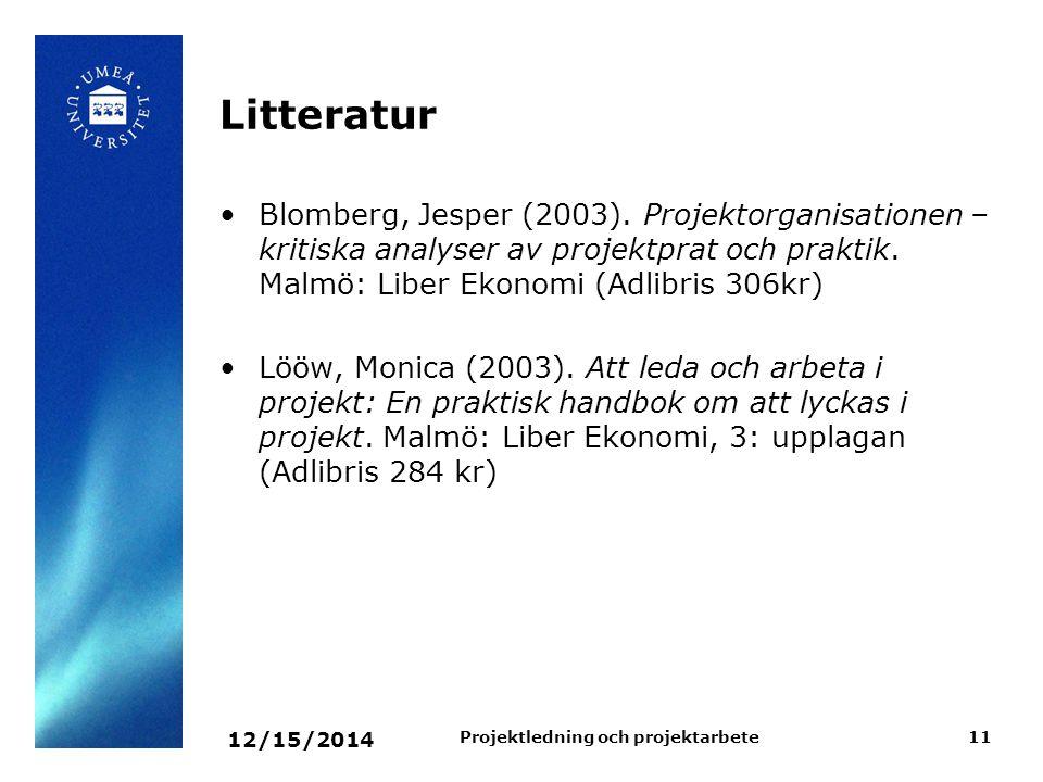 12/15/2014 Projektledning och projektarbete11 Litteratur Blomberg, Jesper (2003). Projektorganisationen – kritiska analyser av projektprat och praktik