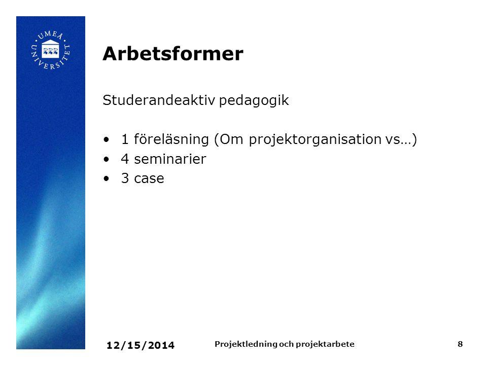 12/15/2014 Projektledning och projektarbete8 Arbetsformer Studerandeaktiv pedagogik 1 föreläsning (Om projektorganisation vs…) 4 seminarier 3 case