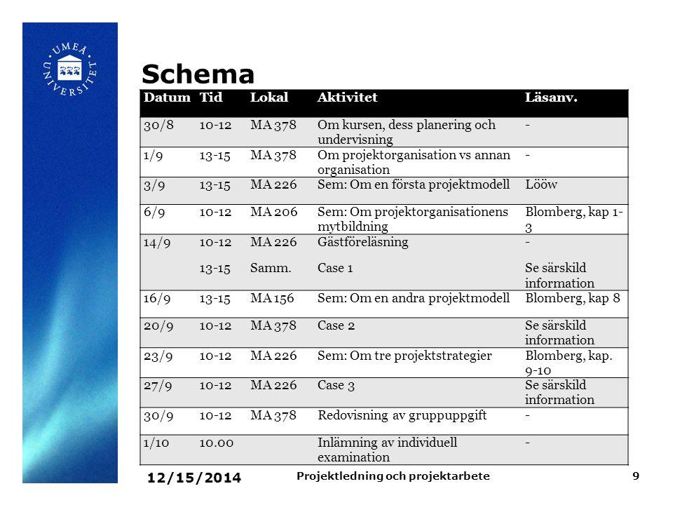 12/15/2014 Projektledning och projektarbete9 Schema DatumTidLokalAktivitetLäsanv. 30/810-12MA 378Om kursen, dess planering och undervisning - 1/913-15