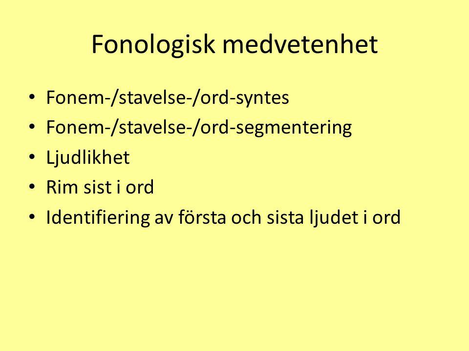 Fonologisk medvetenhet Fonem-/stavelse-/ord-syntes Fonem-/stavelse-/ord-segmentering Ljudlikhet Rim sist i ord Identifiering av första och sista ljudet i ord