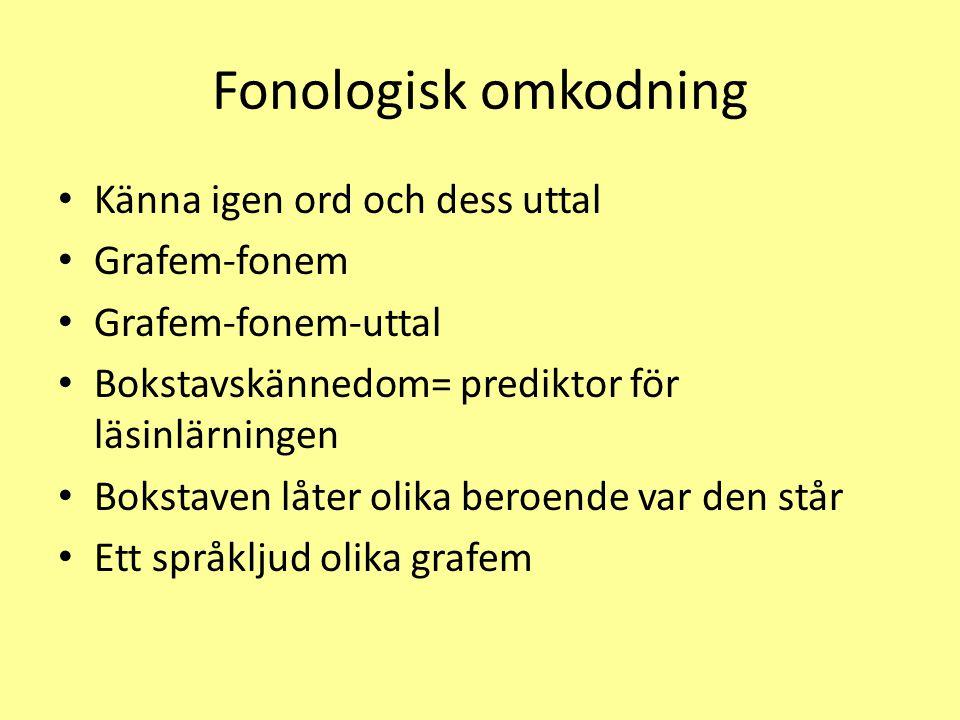 Fonologisk omkodning Känna igen ord och dess uttal Grafem-fonem Grafem-fonem-uttal Bokstavskännedom= prediktor för läsinlärningen Bokstaven låter olika beroende var den står Ett språkljud olika grafem