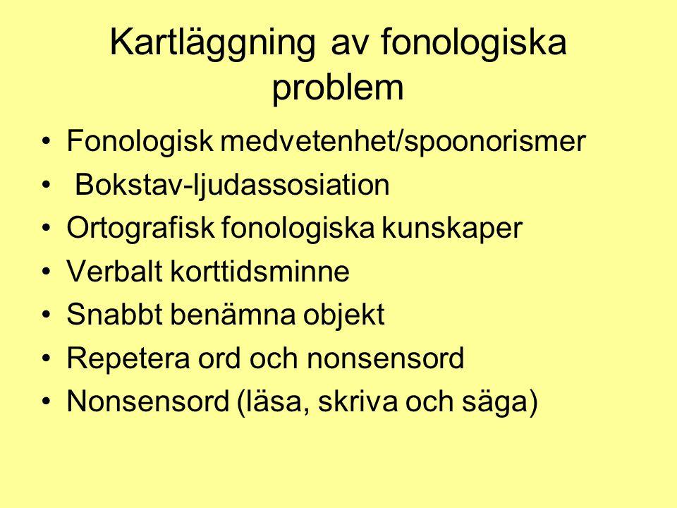 Kartläggning av fonologiska problem Fonologisk medvetenhet/spoonorismer Bokstav-ljudassosiation Ortografisk fonologiska kunskaper Verbalt korttidsminn