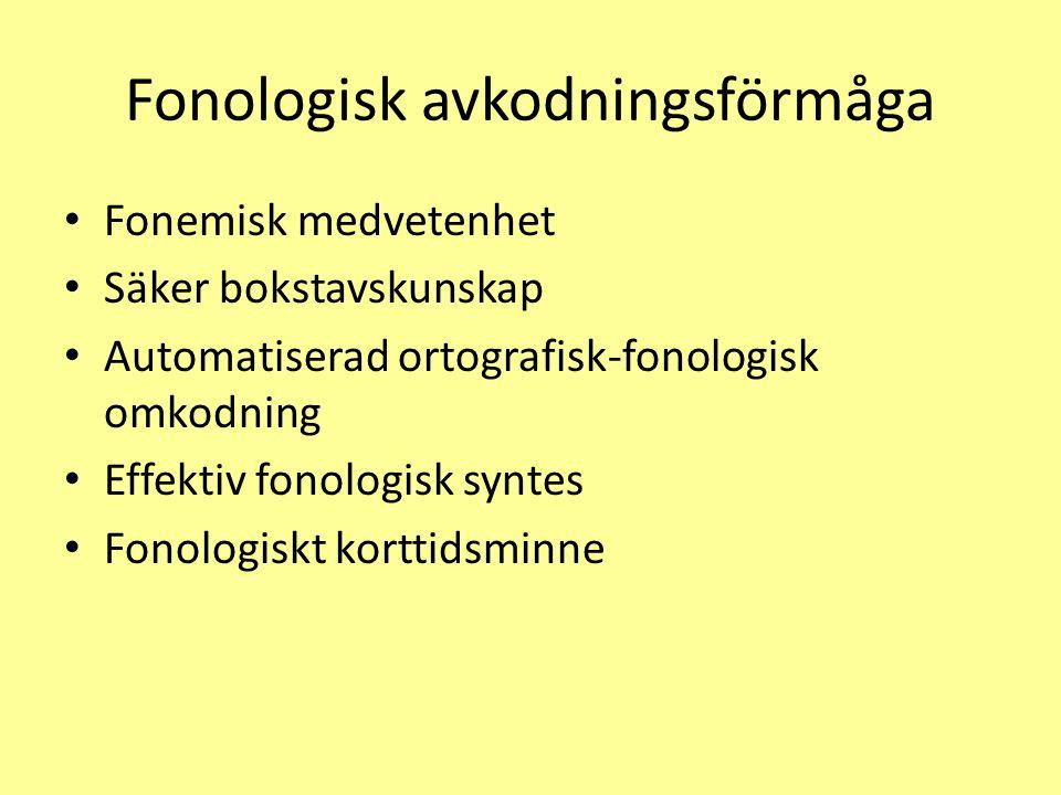 Fonologisk avkodningsförmåga Fonemisk medvetenhet Säker bokstavskunskap Automatiserad ortografisk-fonologisk omkodning Effektiv fonologisk syntes Fono