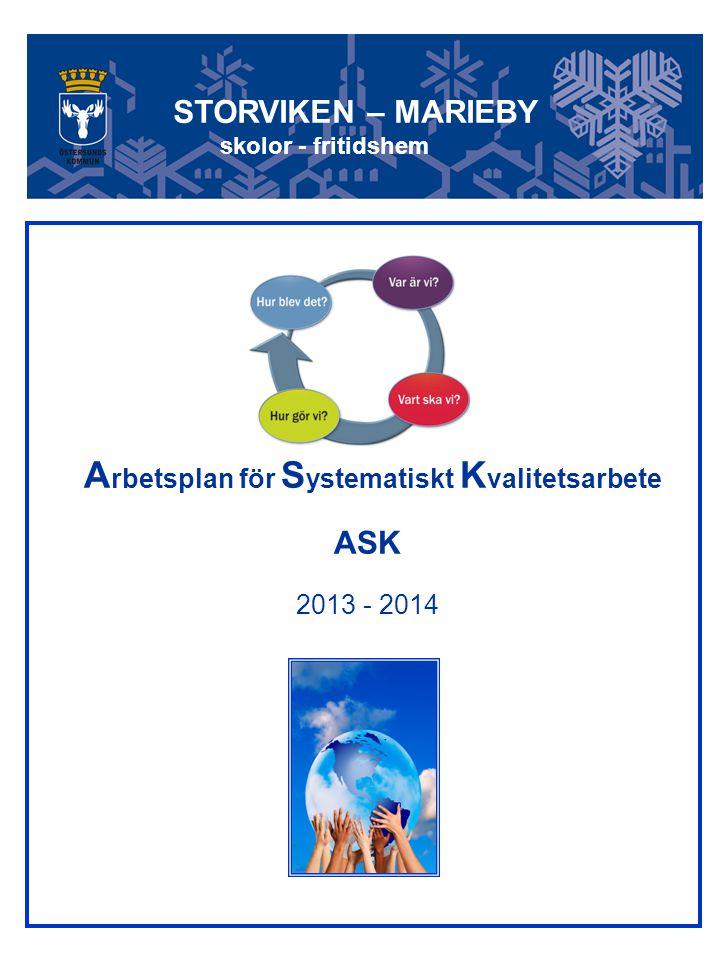 1 A rbetsplan för S ystematiskt K valitetsarbete ASK 2013 - 2014 STORVIKEN – MARIEBY skolor - fritidshem
