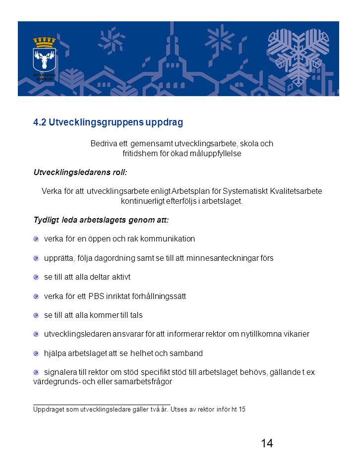 14 Utvecklingsgruppen 4.2 Utvecklingsgruppens uppdrag Bedriva ett gemensamt utvecklingsarbete, skola och fritidshem för ökad måluppfyllelse Utveckling