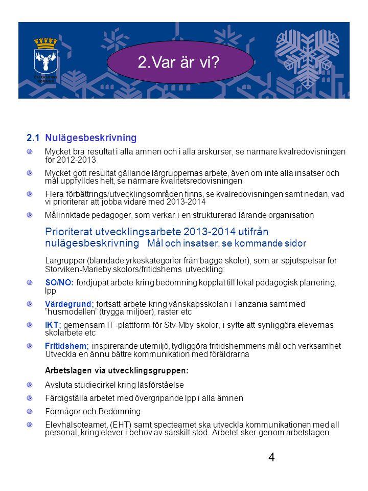 4 2.1 Nulägesbeskrivning Mycket bra resultat i alla ämnen och i alla årskurser, se närmare kvalredovisningen för 2012-2013 Mycket gott resultat gällan