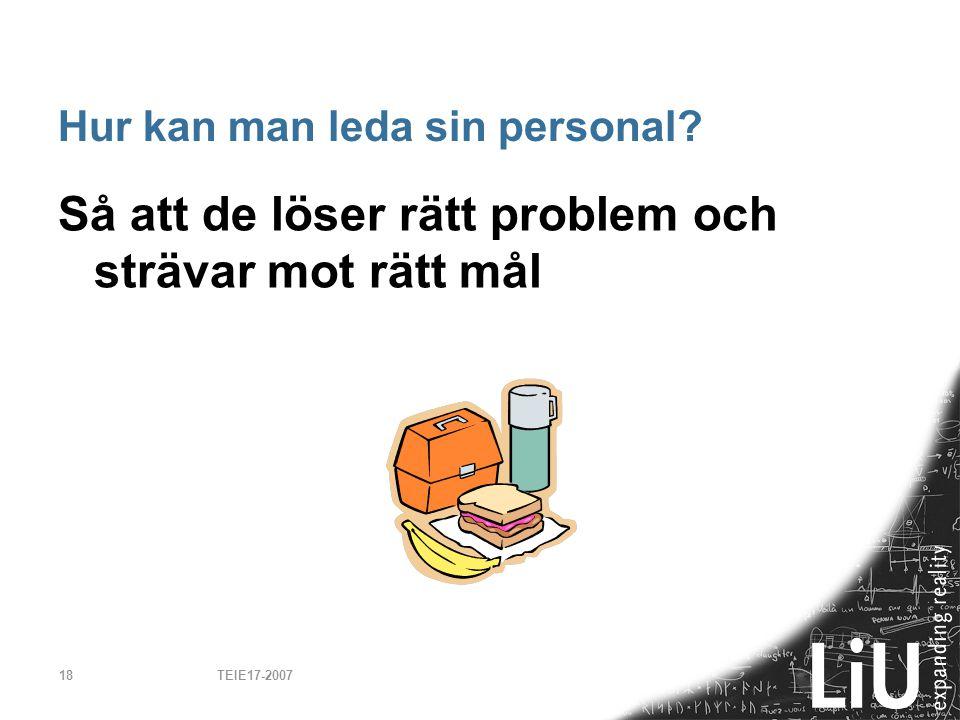 TEIE17-200718 Hur kan man leda sin personal? Så att de löser rätt problem och strävar mot rätt mål