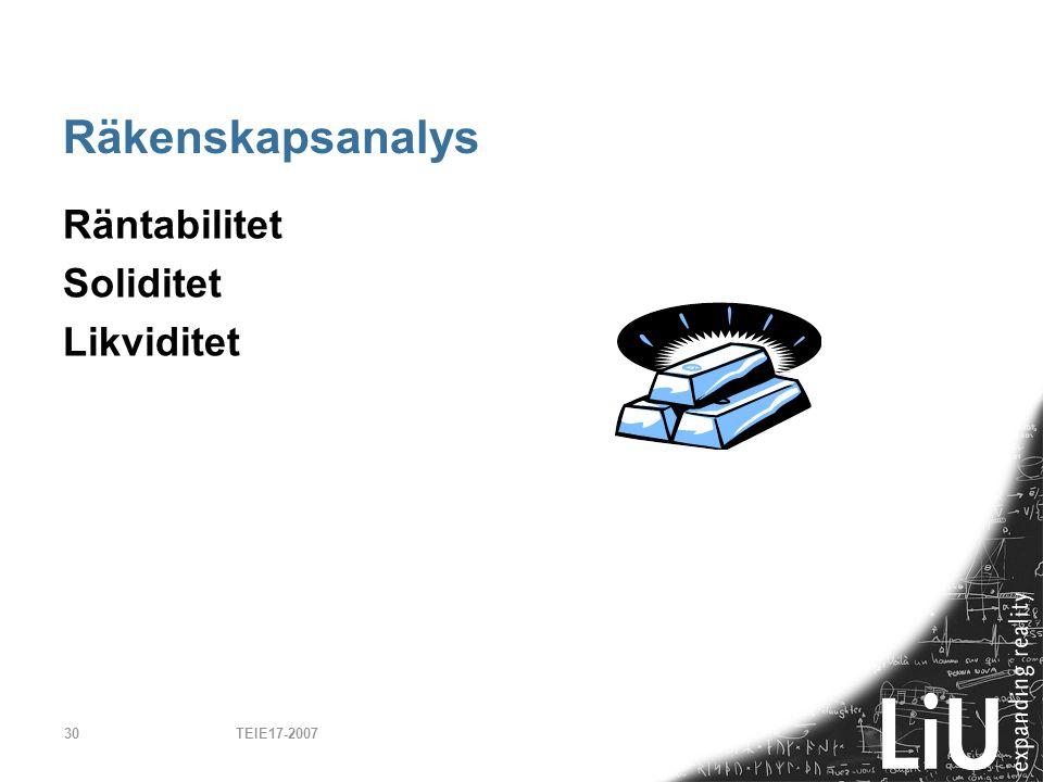 TEIE17-200730 Räkenskapsanalys Räntabilitet Soliditet Likviditet