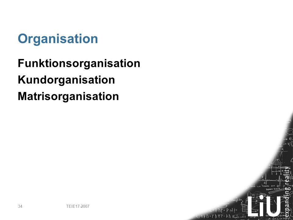 TEIE17-200734 Organisation Funktionsorganisation Kundorganisation Matrisorganisation