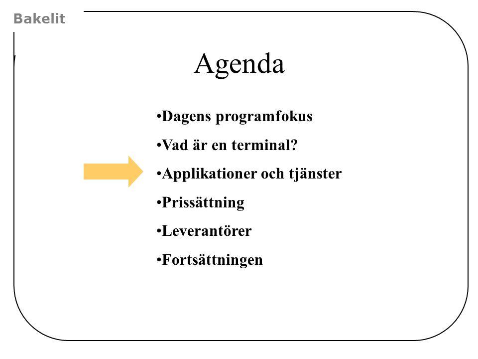 Agenda Dagens programfokus Vad är en terminal? Applikationer och tjänster Prissättning Leverantörer Fortsättningen