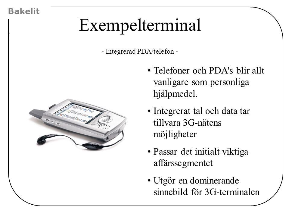 Bakelit Exempelterminal Telefoner och PDA's blir allt vanligare som personliga hjälpmedel. Integrerat tal och data tar tillvara 3G-nätens möjligheter