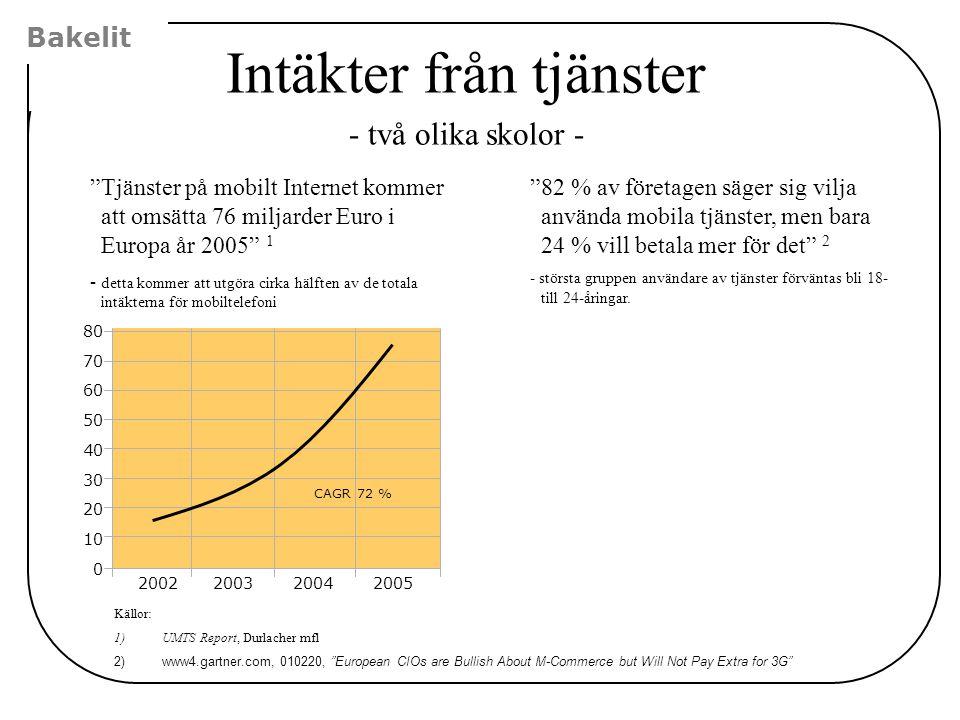 """Bakelit Intäkter från tjänster - två olika skolor - """"Tjänster på mobilt Internet kommer att omsätta 76 miljarder Euro i Europa år 2005"""" 1 - detta komm"""