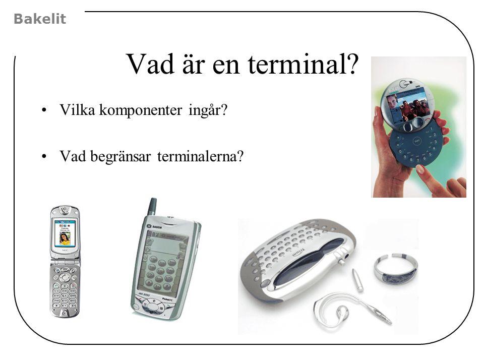 Vad är en terminal? Vilka komponenter ingår? Vad begränsar terminalerna? Bakelit