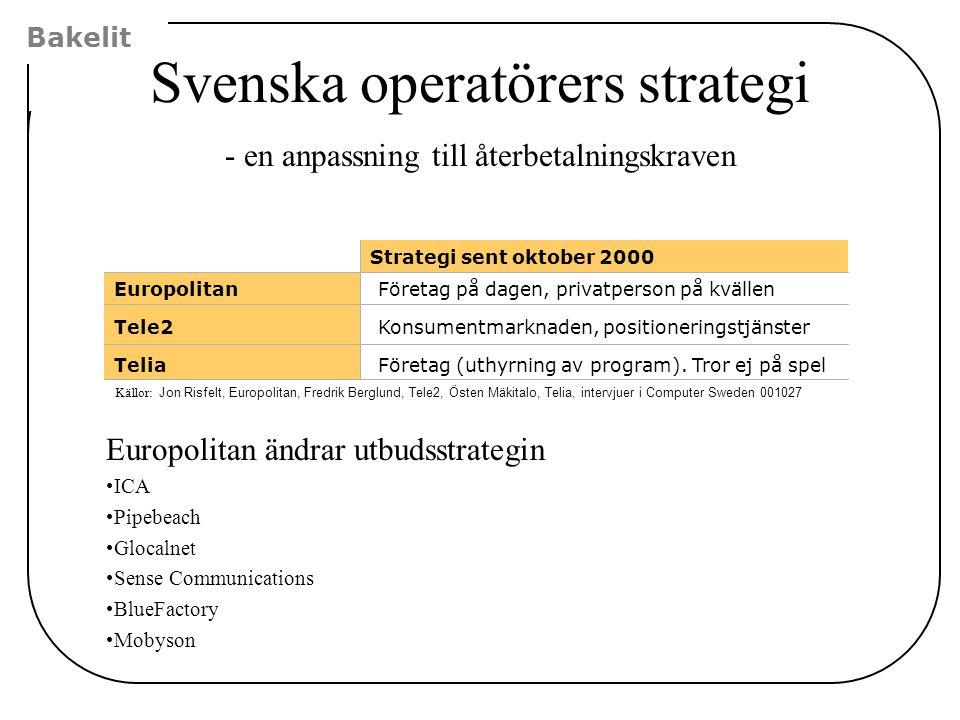 Strategi sent oktober 2000 Företag på dagen, privatperson på kvällen Konsumentmarknaden, positioneringstjänster Företag (uthyrning av program). Tror e