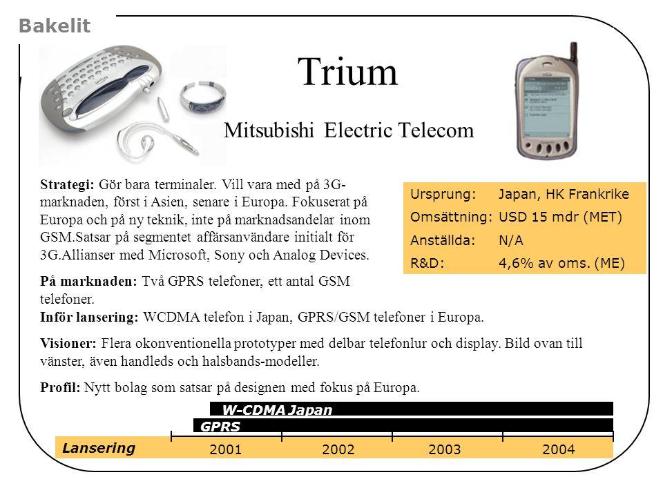 Bakelit Strategi: Gör bara terminaler. Vill vara med på 3G- marknaden, först i Asien, senare i Europa. Fokuserat på Europa och på ny teknik, inte på m