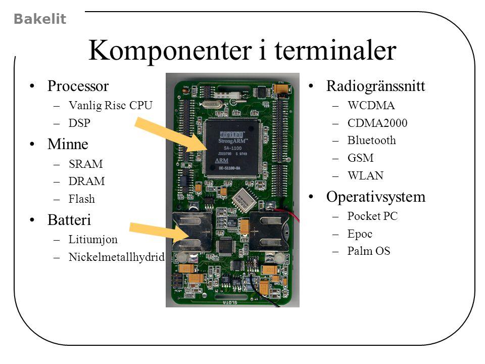 Komponenter i terminaler Processor –Vanlig Risc CPU –DSP Minne –SRAM –DRAM –Flash Batteri –Litiumjon –Nickelmetallhydrid Radiogränssnitt –WCDMA –CDMA2