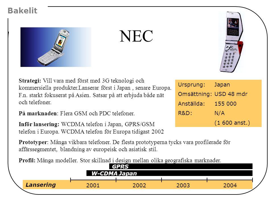 Bakelit NEC Strategi: Vill vara med först med 3G teknologi och kommersiella produkter.Lanserar först i Japan, senare Europa. F.n. starkt fokuserat på