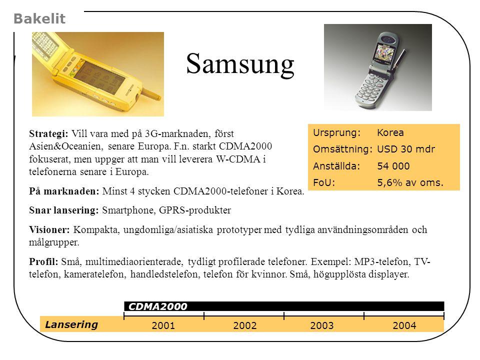 Strategi: Vill vara med på 3G-marknaden, först Asien&Oceanien, senare Europa. F.n. starkt CDMA2000 fokuserat, men uppger att man vill leverera W-CDMA
