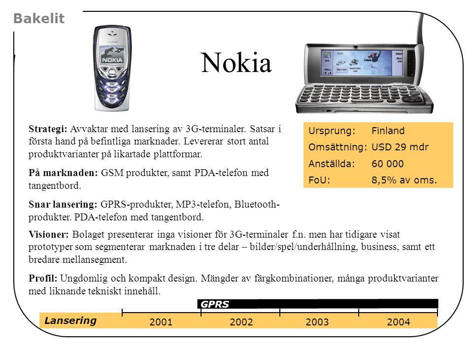 Bakelit Nokia Strategi: Avvaktar med lansering av 3G-terminaler. Satsar i första hand på befintliga marknader. Levererar stort antal produktvarianter